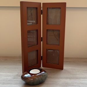 Picture frame and ceramic candle holder